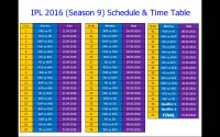 IPL 2016 Time table and schedule