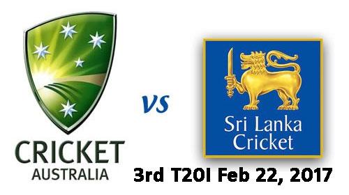 Australia vs Sri Lanka 3rd T20I