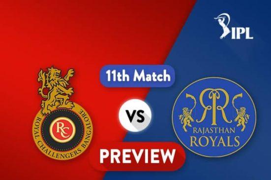 RCB vs RR Live Stream 11th Match of Indian Premier League 2018